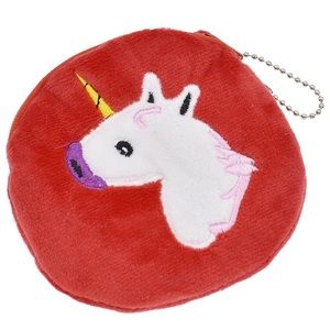 Handbags - Small coin purse with unicorn (red)